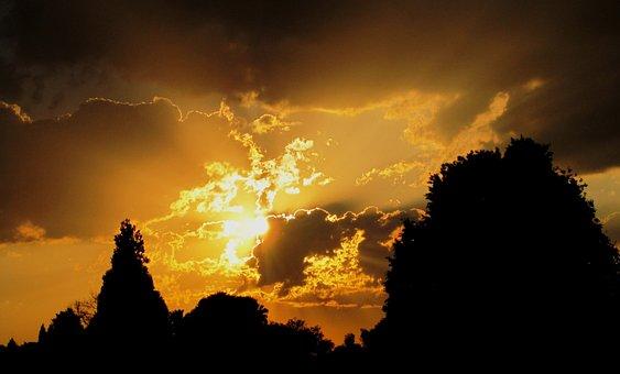 Sunset, Sun, White, Light, Gold, Luminous, Glowing