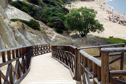 Way, Bridge, Wooden, Beach, Holiday, Holidays, Tourism