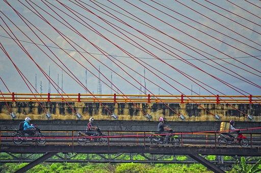 Semarang, Man, Motor, Bridge, Central Java, Indonesian