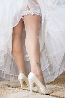 Wedding, Garter, Legs, Shoes, Higheels, White, Tattoo