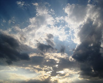 Sky, Clouds, Light, Luminous, Radiating, Dark Patches