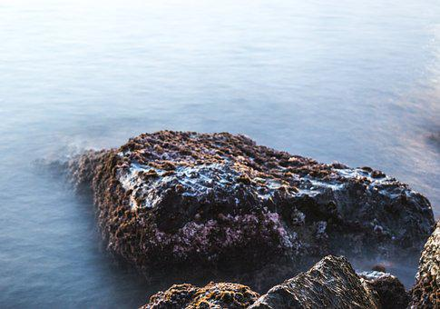 Long Exposition, Rock, Sea, Water, Costa, Wave, Splash