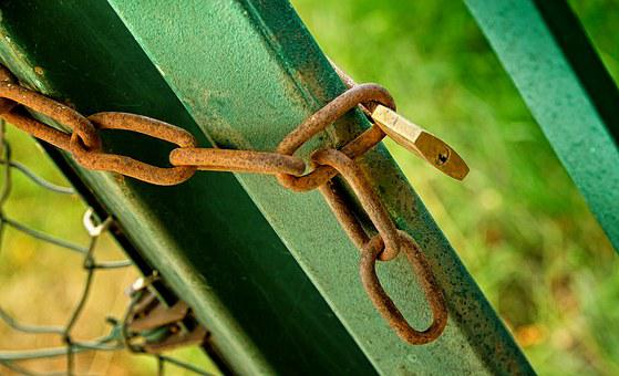 Fence, Chain, Padlock, Capping, Metal, Green, Brown