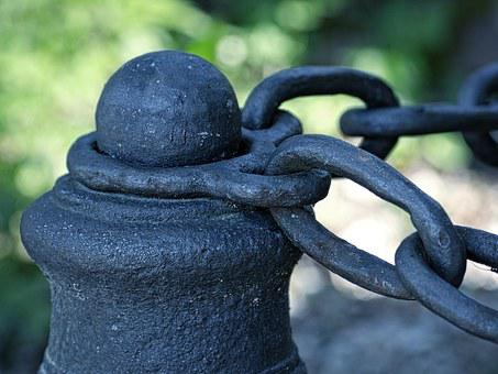 Fixing, Post, Metal, Chain, Pile, Iron Chain, Old