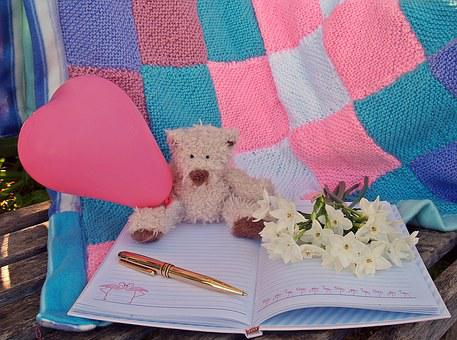 Teddy Bear, Heart, Pink, Flowers, Notebook, Pen, Gold