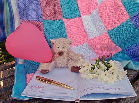 Teddy Bear, Heart, Pink, Flowers, Notebook, Pen, Gold