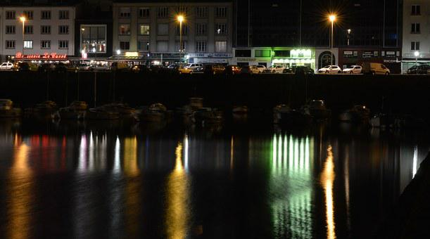 Lights, Port, Reflection, Night, Luminous Signs, Brest