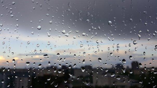 Rain, Window, View, Raindrops, Drops, Rhombus, Blue