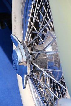 Rim, Car Rim, Chrome, Oldtimer, White Band Tyres