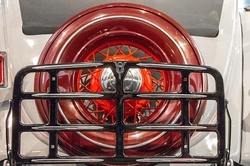 Spare Tire Cover, Grill, Roadster, Vintage, V8, Logo