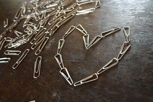 Paper-clips, Heart, Shape, Paper Clips, Office