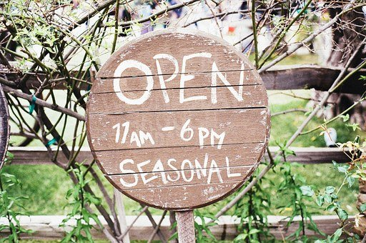 Open, Sign, Wooden, Round, Store, Grunge, Seasonal