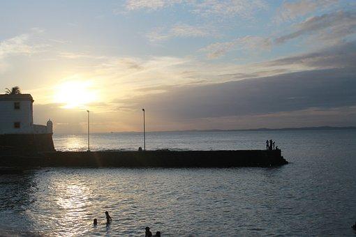 Beach, Mar, Sunset, Bar Harbor In Salvador