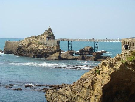 Landscape, Together, To The, Biarritz, Bridge, Water