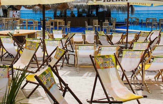 Vacations, Sea, Beach, Bar, Deck Chair, Sun, Palm Trees