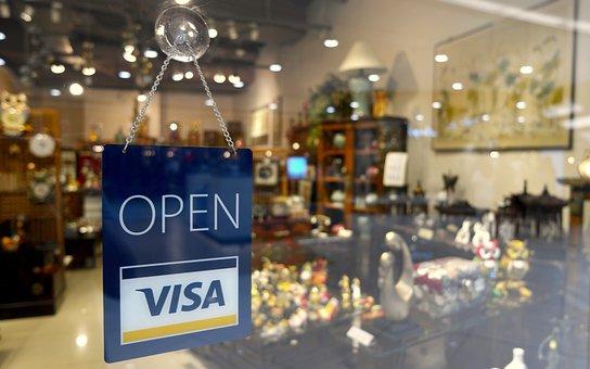 Open Sign, Visa Sign, Open, Store, Sign, Visa