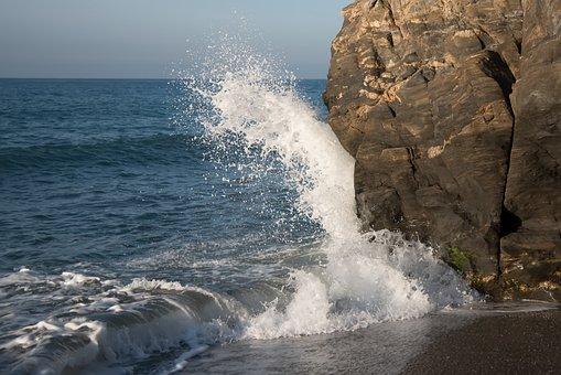 Sea, Wave, Breakwater, Rocks, Foam, Water, Beach