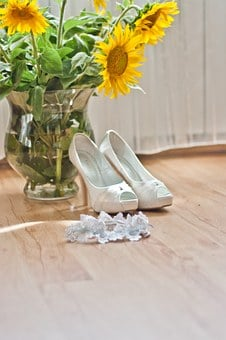 Wedding, Shoes, Higheels, Garter, Flowers, Sunflower