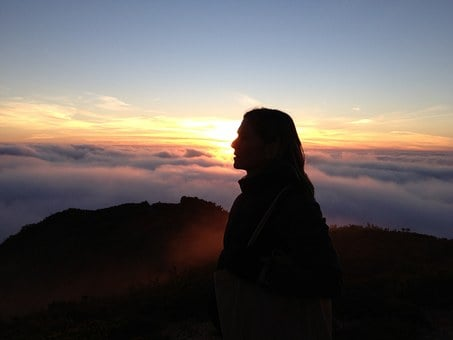 Profile, Woman, Yellow, Sunset, Fog, Clouds, Silhouette