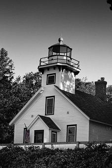 Lighthouse, Black And White, Sky, Beacon, Old, Coast