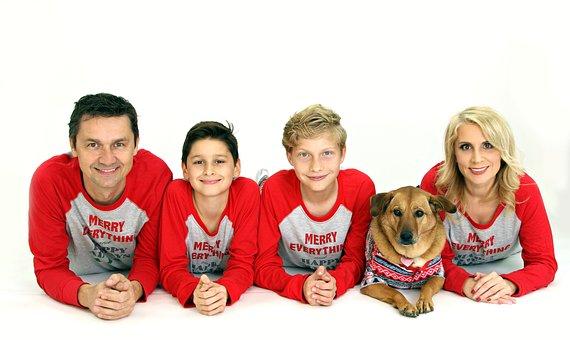 Family, Christmas, Red, Kids, Dad, Mom, Dog