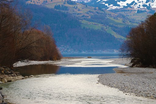 Estuary, Lake, River, Landscape, Water, Mood