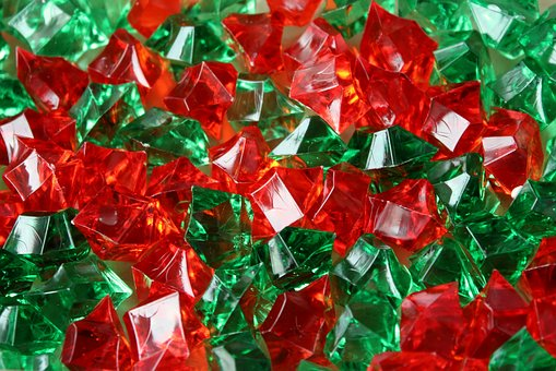 Pebbles, Glass, Acrylic, Green, Red, The Background