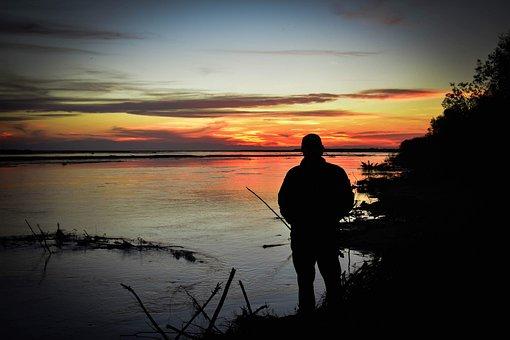 Sunset, Silhouette, River, Horizon