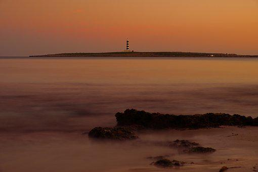 Minorca, Punta Prima, Lighthouse, Sea, Sun, Calm