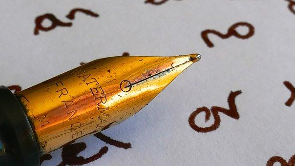 Macro, Pen, Paper, Writing, Ink, Nib