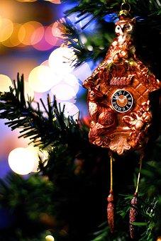 Christmas Decor, New Year Decor, Holiday, Clock, Tree
