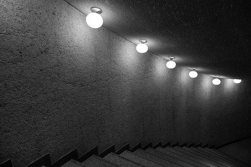 Stairs, Stairway, Dark Hall, Dark Indoor, Night, Lights
