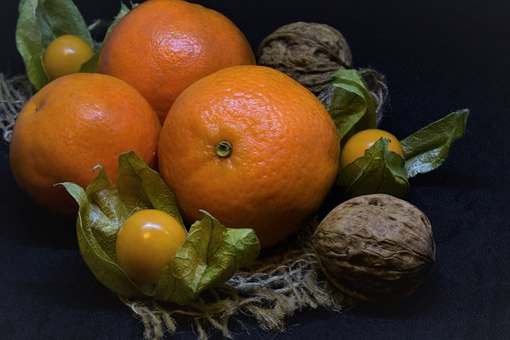 Mandarin, Nuts, Walnut, Physalis Christmas, Fruit