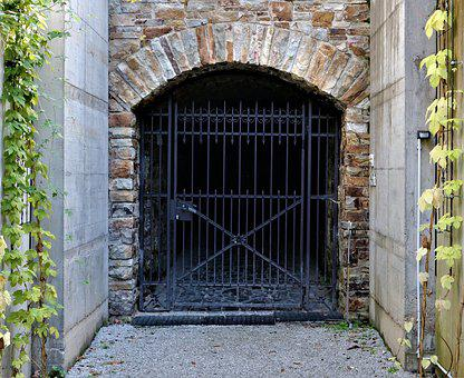 Iron Gate, Input, Metal, Old, Castle Dark, Plant, Green