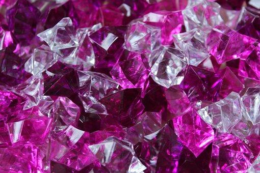 Pebbles, Crystals, Acrylic, Violet, Pink
