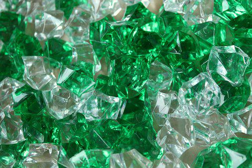 Pebbles, Crystals, Glass, Green, The Background
