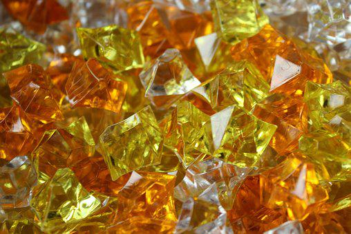 Pebbles, Glass, Colorful, Yellow, Orange