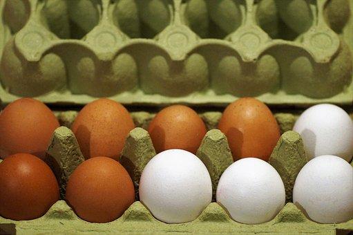 Eggs, Plato, Fresh, Chicken, Raw, Series, White, Brown