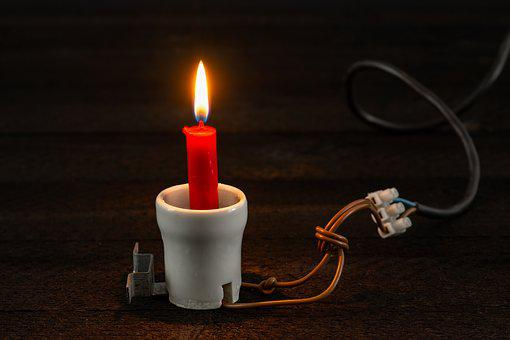 Current, Candle, Light, Porcelain, Wire, Wood, Version