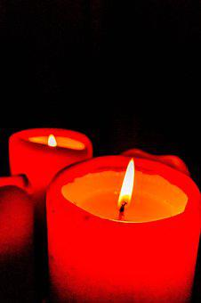 Candles, Red, Flame, Black, Love, Christmas