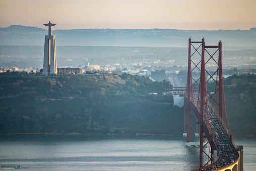 Bridge April 25, Lisbon, Christ The King, Tejo, Rio