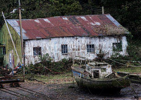 Boat, Yard, Wreck, Boatyard, Sea, Shoreline