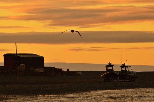 Sunset, Ave, Silhouettes, Boats, Orange, Sun