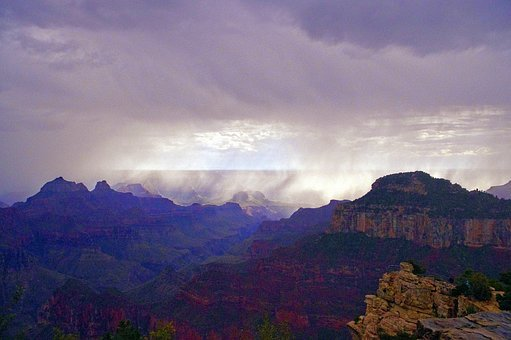 Grand Canyon Storming, Canyon, Storm, Rain, Sky, Nature