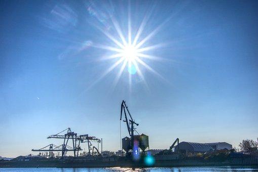 Sun, Backlighting, Dazzling Star, Port, Crane, Loading