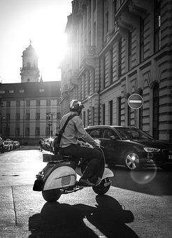 Scooter, Moped, Prague, Sun, Street, Black And White