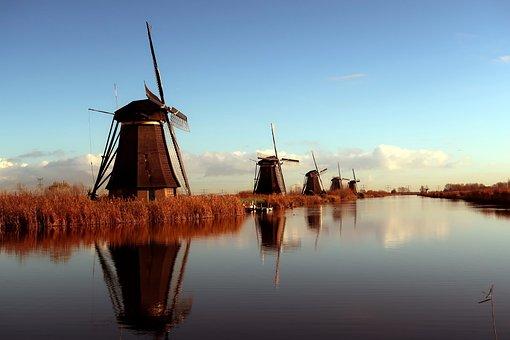 Kinderdijk, Mills, Netherlands, Holland, Windmills