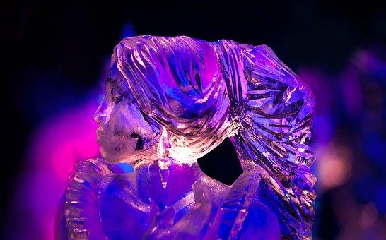 Ice, Sculpture, Pink, Snow, Winter, Nature, Europe