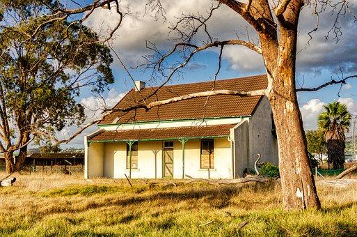 House, Farmhouse, Trees, Rustic, Farm, Architecture