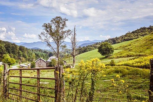 Farm Land, Barn, Blue Sky, Meadow, Countryside, Rural